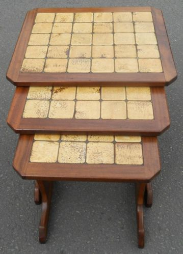 Retro Tiled Top Nest of Teak Coffee Tables